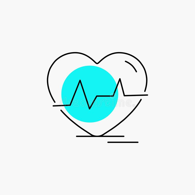 Ecg, heart, heartbeat, pulse, beat Line Icon. Vector EPS10 Abstract Template background royalty free illustration