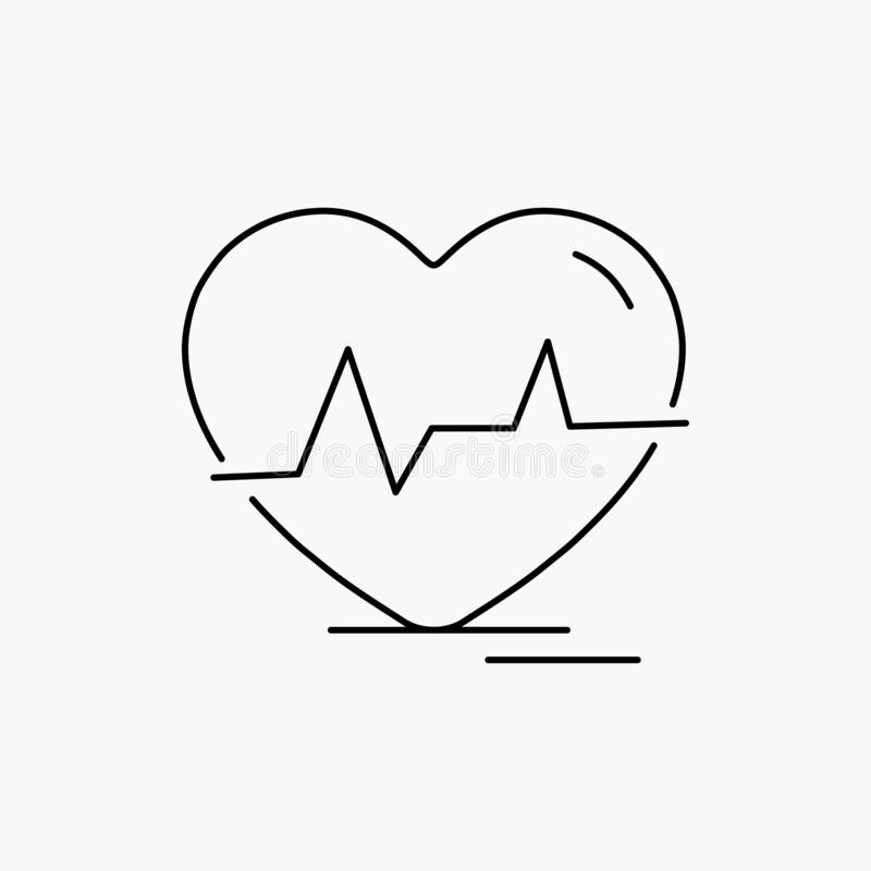 Ecg, heart, heartbeat, pulse, beat Line Icon. Vector isolated illustration. Vector EPS10 Abstract Template background stock illustration