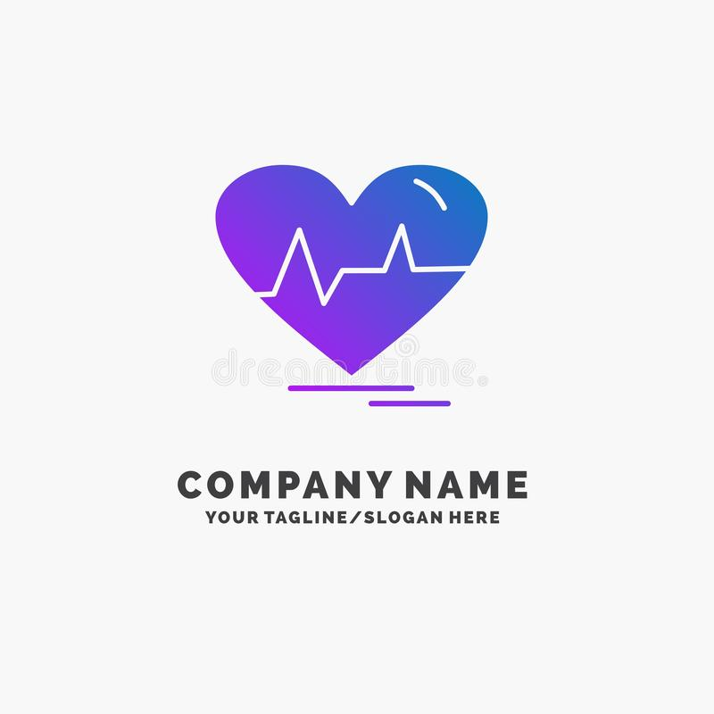 Ecg, heart, heartbeat, pulse, beat Purple Business Logo Template. Place for Tagline. Vector EPS10 Abstract Template background vector illustration