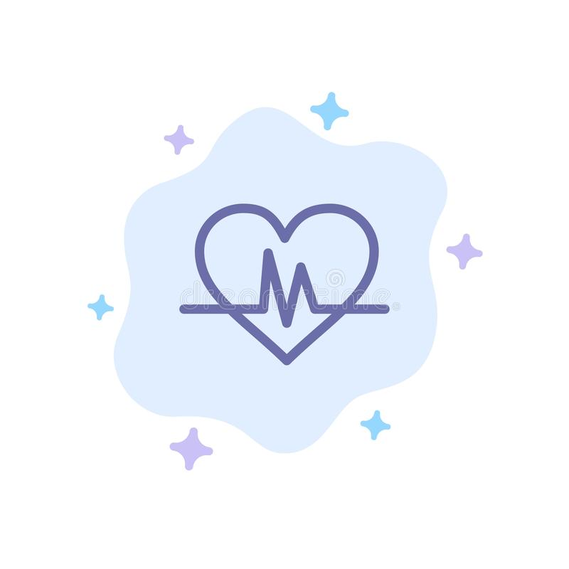 Ecg, Heart, Heartbeat, Pulse Blue Icon on Abstract Cloud Background vector illustration