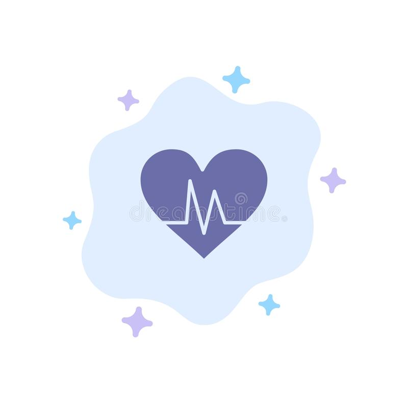 Ecg, Heart, Heartbeat, Pulse Blue Icon on Abstract Cloud Background stock illustration