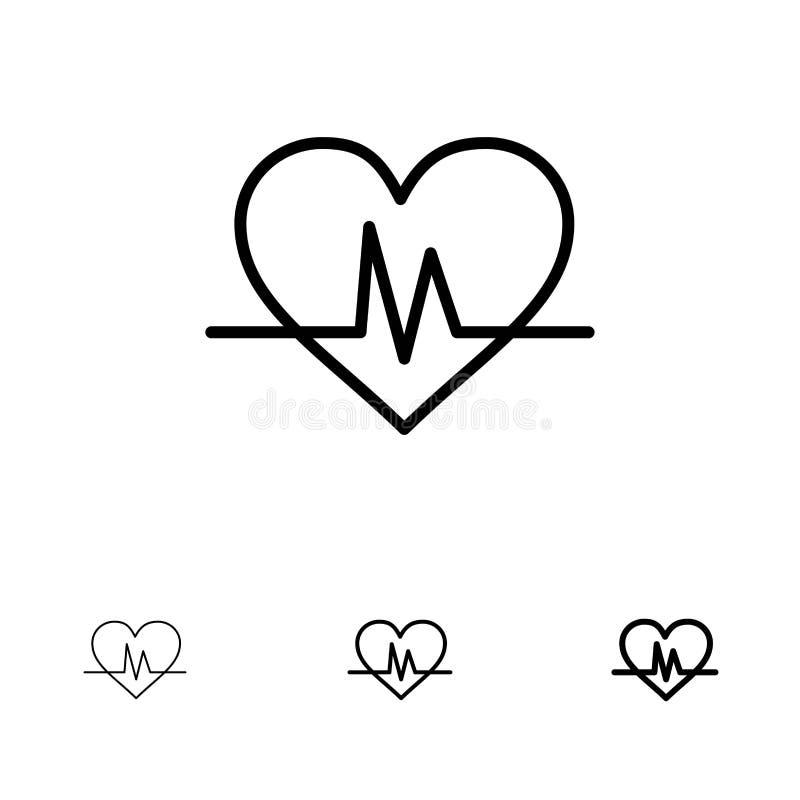 Ecg, Heart, Heartbeat, Pulse Bold and thin black line icon set royalty free illustration