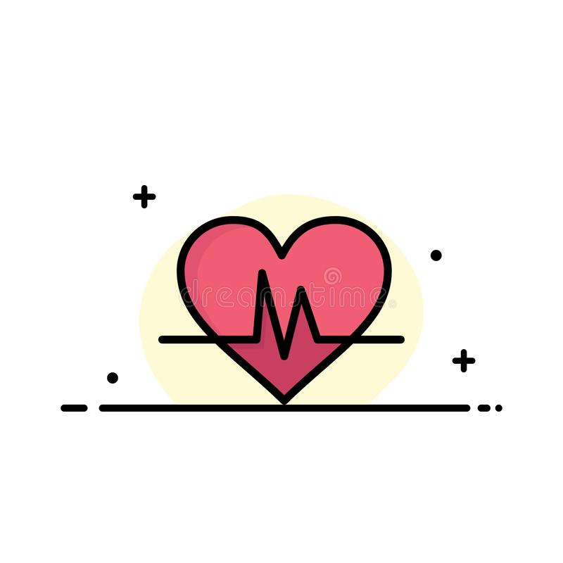 Ecg, Heart, Heartbeat, Pulse  Business Flat Line Filled Icon Vector Banner Template stock illustration