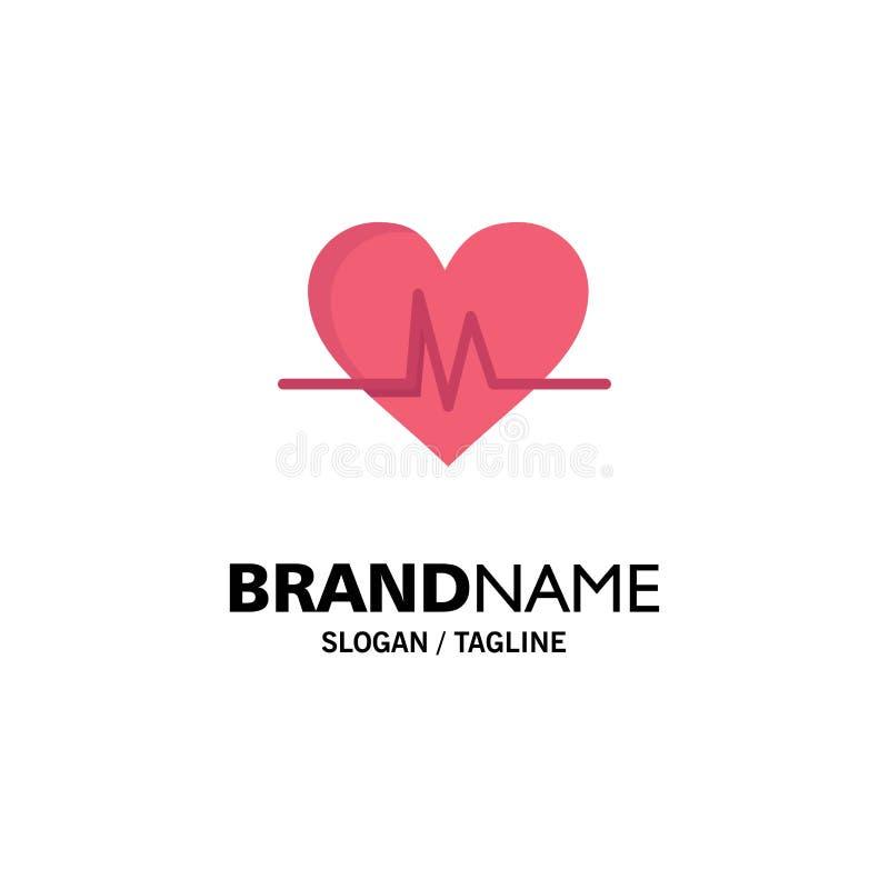 Ecg, Heart, Heartbeat, Pulse Business Logo Template. Flat Color stock illustration