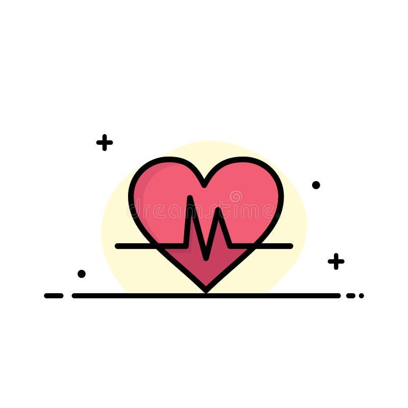 Ecg, Heart, Heartbeat, Pulse Business Logo Template. Flat Color royalty free illustration