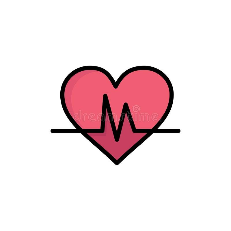 Ecg, Heart, Heartbeat, Pulse  Flat Color Icon. Vector icon banner Template royalty free illustration