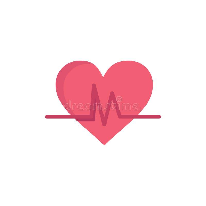 Ecg, Heart, Heartbeat, Pulse  Flat Color Icon. Vector icon banner Template vector illustration