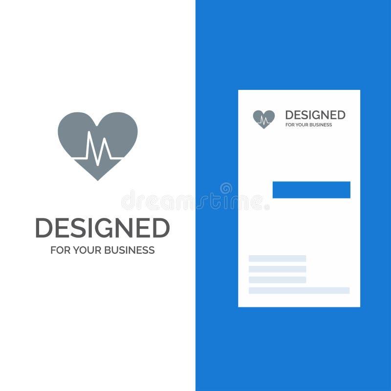 Ecg, Heart, Heartbeat, Pulse Grey Logo Design and Business Card Template vector illustration