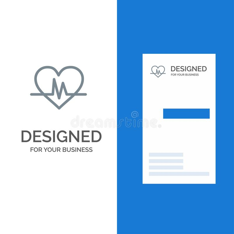 Ecg, Heart, Heartbeat, Pulse Grey Logo Design and Business Card Template stock illustration