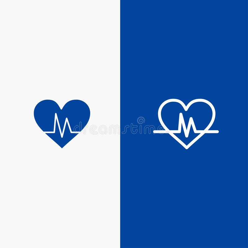 Ecg, Heart, Heartbeat, Pulse Line and Glyph Solid icon Blue banner royalty free illustration