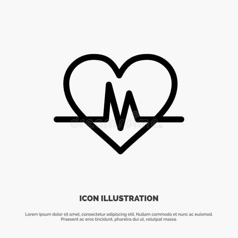 Ecg, Heart, Heartbeat, Pulse Vector Line Icon vector illustration