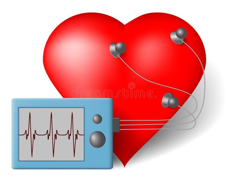 ECG heart monitor. Red heart and cardiac monitor - ECG stock illustration