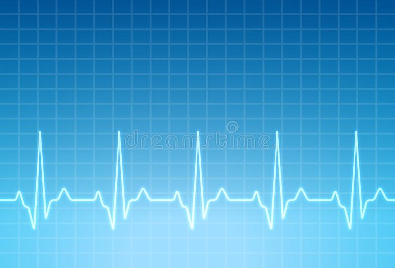 ECG heartbeat monitor, cardiogram heart pulse line wave. Electrocardiogram medical background royalty free illustration