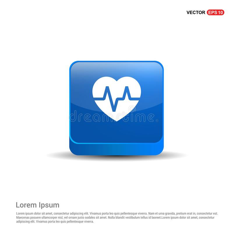 Ecg icon - 3d Blue Button. This Vector EPS 10 illustration is best for print media, web design, application design user interface and infographics with well royalty free illustration
