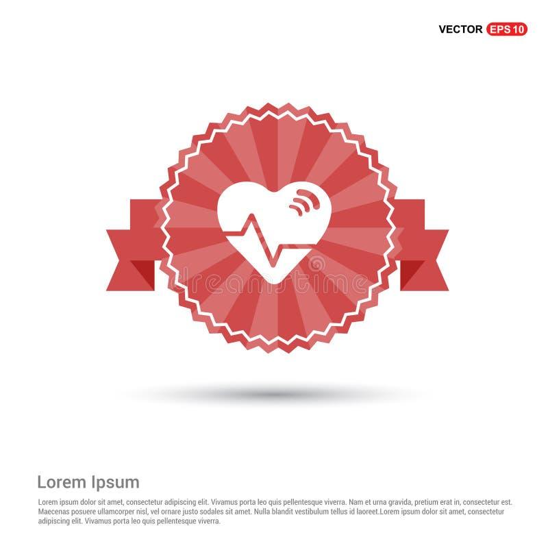 Ecg icon - Red Ribbon banner stock illustration