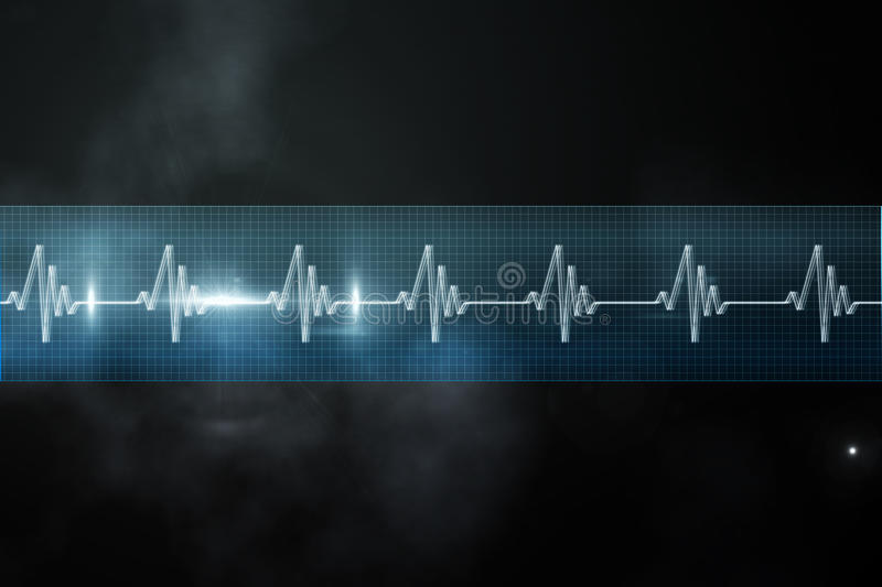 ECG line in blue and black. Digitally generated ECG line in blue and black stock illustration