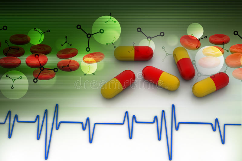 Ecg line with capsule. In color background vector illustration