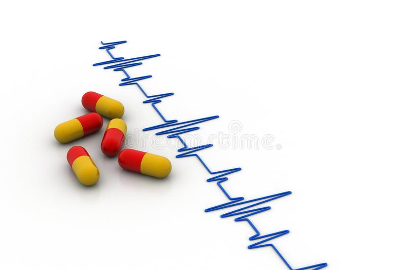 Ecg line with capsule. In white background vector illustration