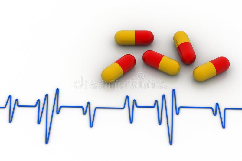 Ecg line with capsule. In white background royalty free illustration