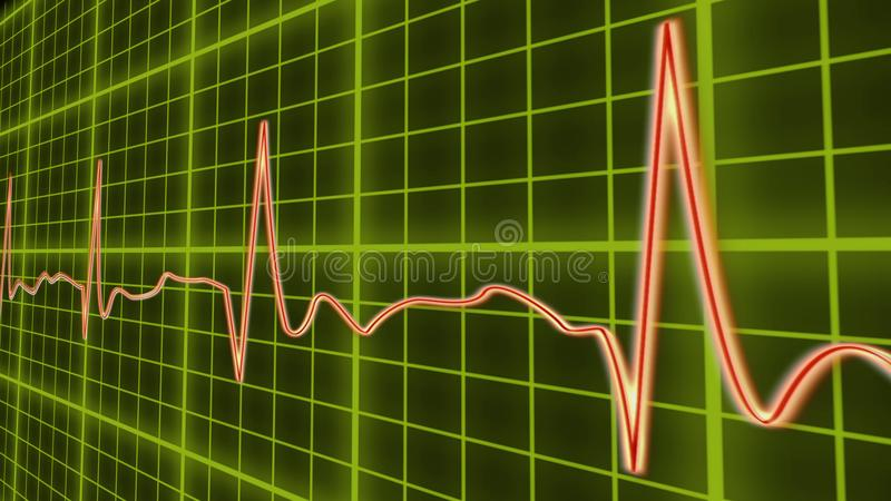 ECG line graph, heart beating in normal sinus rhythm, healthcare and medicine stock illustration