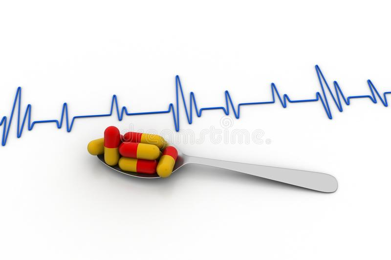 Ecg line with tablets. In white background vector illustration