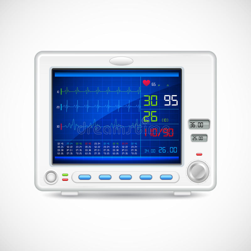 ECG machine. Illustration of ECG machine displaying heartbeat stock illustration