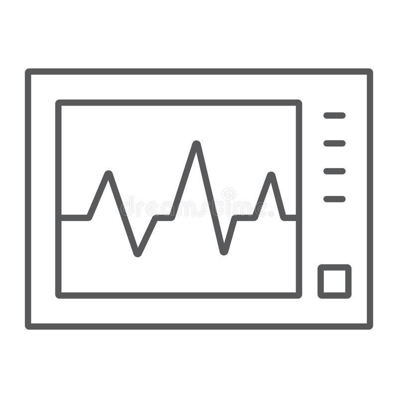 Ecg machine thin line icon, medicine cardiology. Ecg machine thin line icon, medicine and cardiology, heartbeat rate sign, vector graphics, a linear pattern on a royalty free illustration