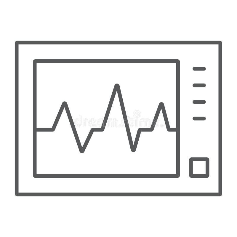 Ecg machine thin line icon, medicine cardiology royalty free illustration