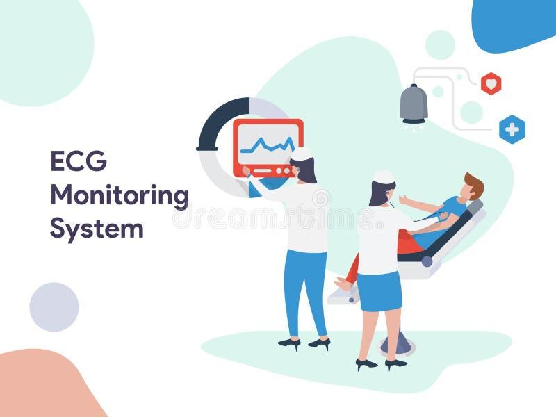 ECG Monitoring System illustration. Modern flat design style for website and mobile website.Vector illustration. EPS 10 vector illustration