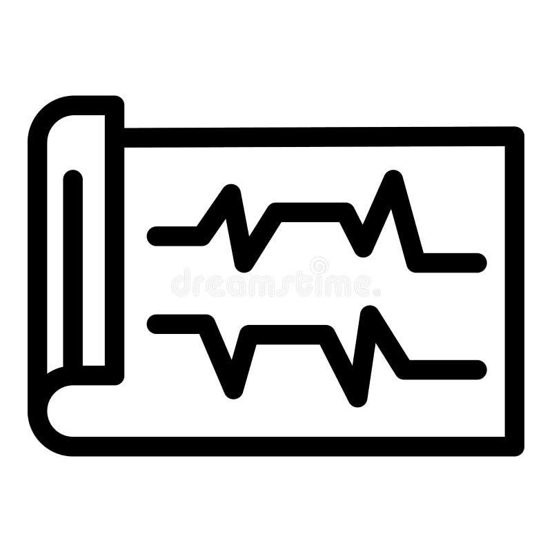 ECG printout icon, outline style. ECG printout icon. Outline ECG printout vector icon for web design isolated on white background stock illustration