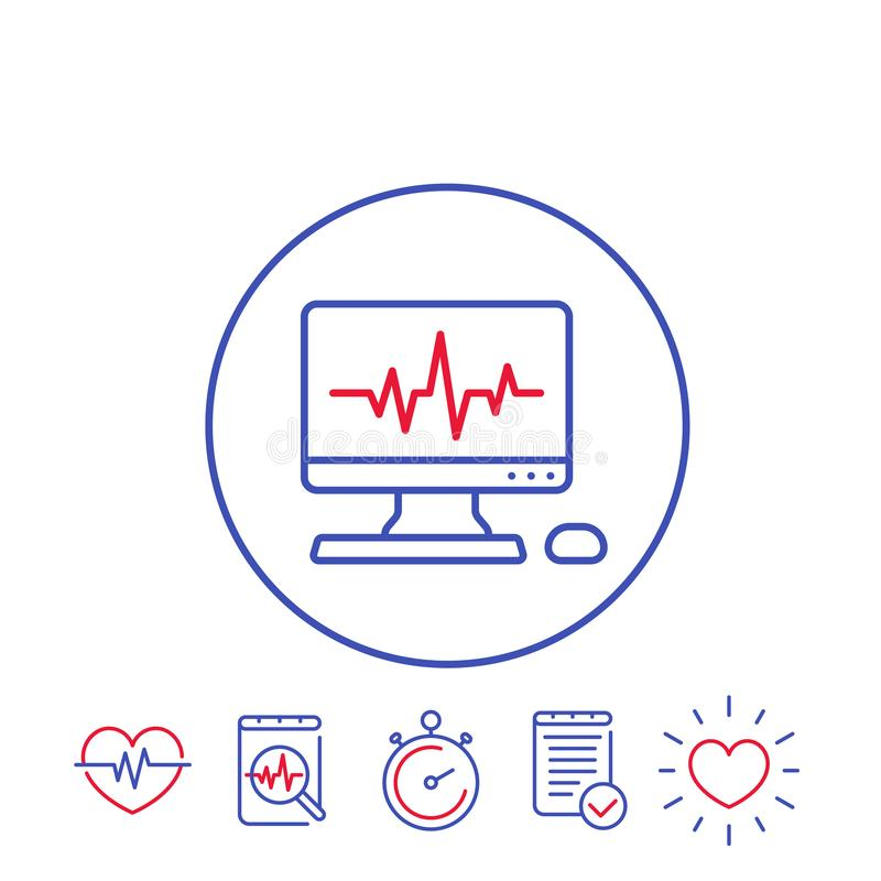 Ecg procedure, heart diagnostic icons. Ecg procedure, cardiovascular disease, heart diagnostic, electrocardiography line icons stock illustration