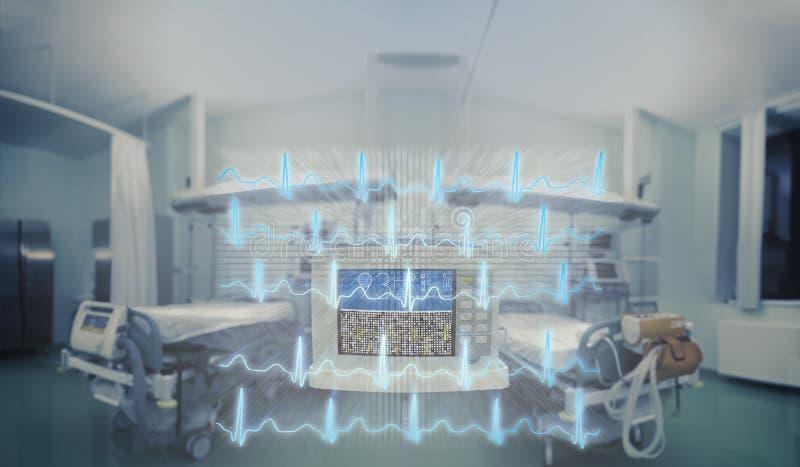 ECG raye la projection sur la salle d'ER, concept médical d'urgence photo stock