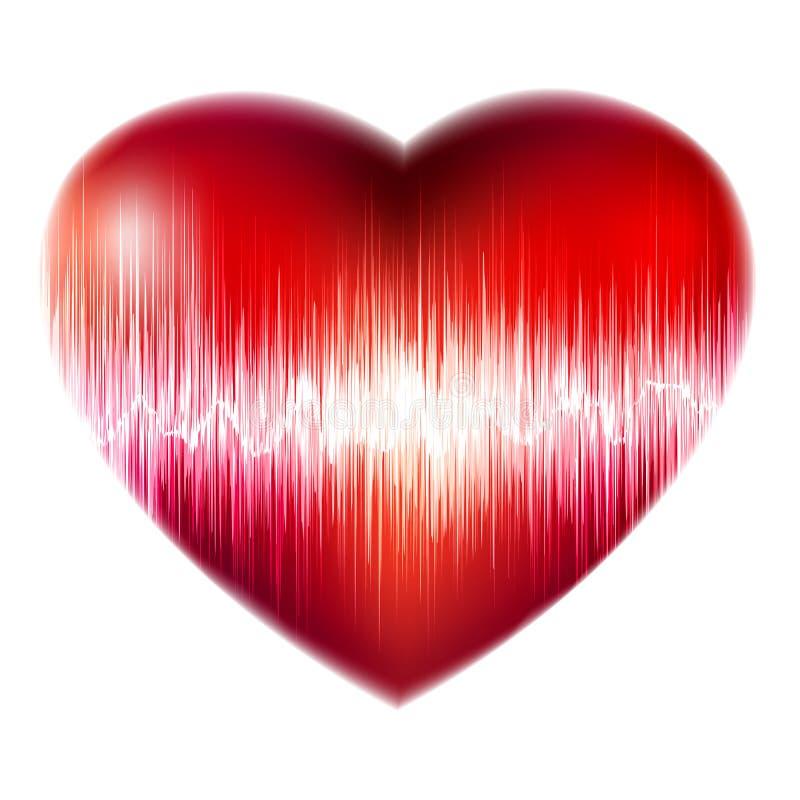 Ecg red heart background, heartbeat. EPS 8 stock illustration