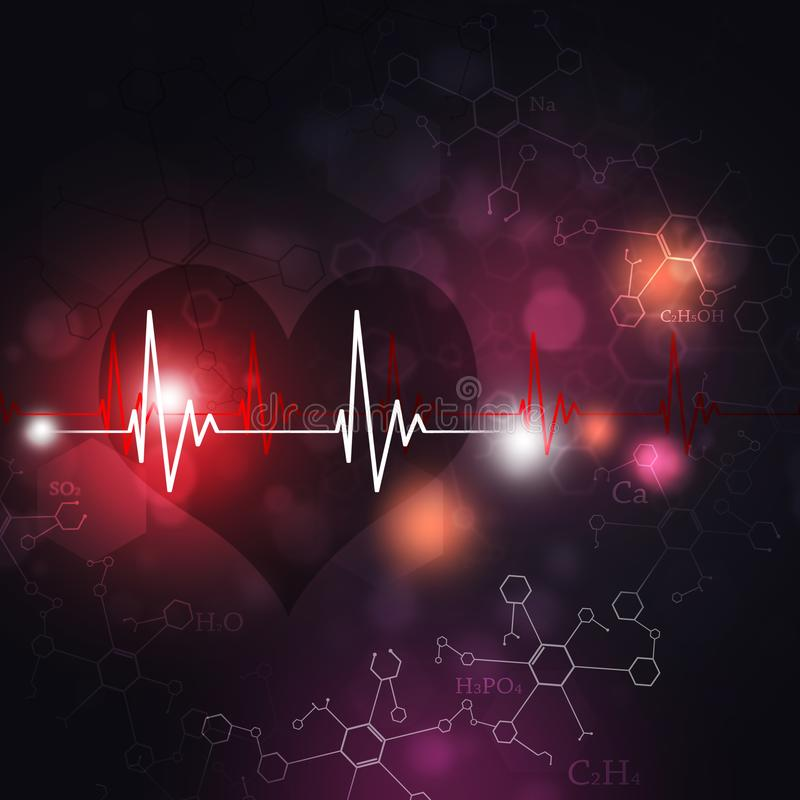 ECG Science Background. Abstract science multicolor background with heart on ecg stock illustration