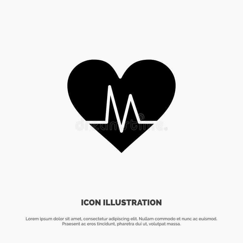 Ecg, serce, bicie serca, pulsu glifu Stała Czarna ikona ilustracja wektor