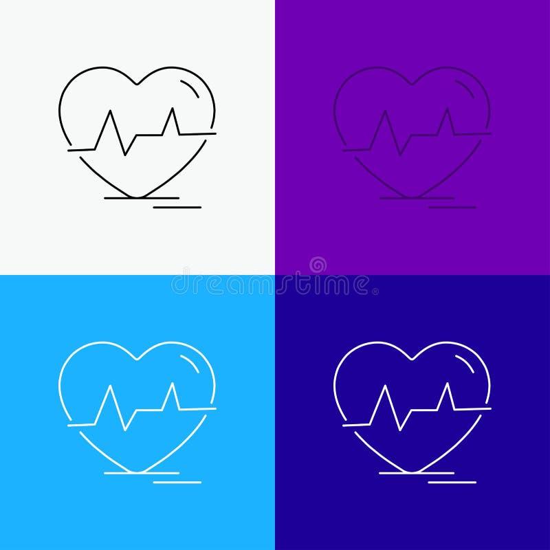 ecg, sloeg het hart, hartslag, impuls, Pictogram over Diverse Achtergrond r EPS 10 vector royalty-vrije illustratie