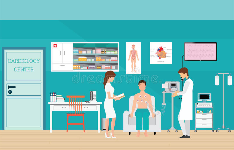ECG Test or The Cardiac Test. ECG Test or The Cardiac Test, cardiology center room interior with blood pressure monitor, healthy and medical flat design vector stock illustration