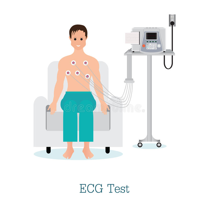 ECG Test or The Cardiac Test with patient. ECG Test or The Cardiac Test with patient, healthy and medical flat design vector illustration royalty free illustration
