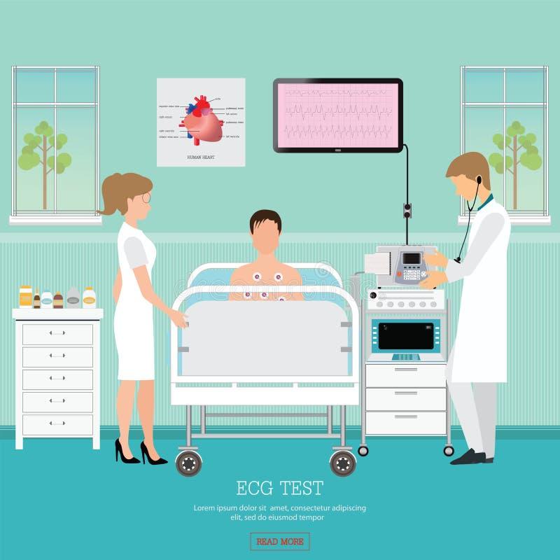 ECG test lub Sercowy test ilustracji