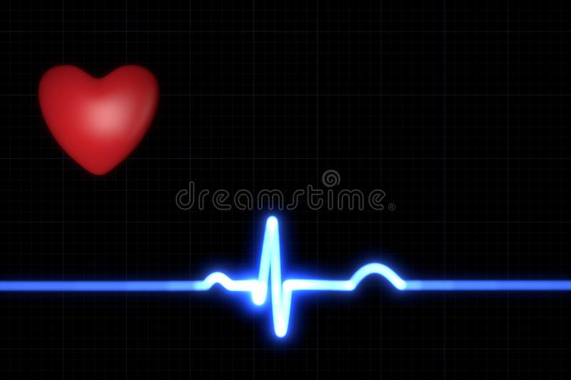 ECG trace. Red heart with a blue ECG trace on black background royalty free illustration