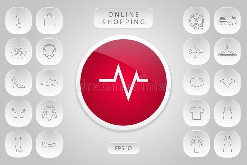 ECG wave - cardiogram symbol. Medical icon. Element for your design stock illustration