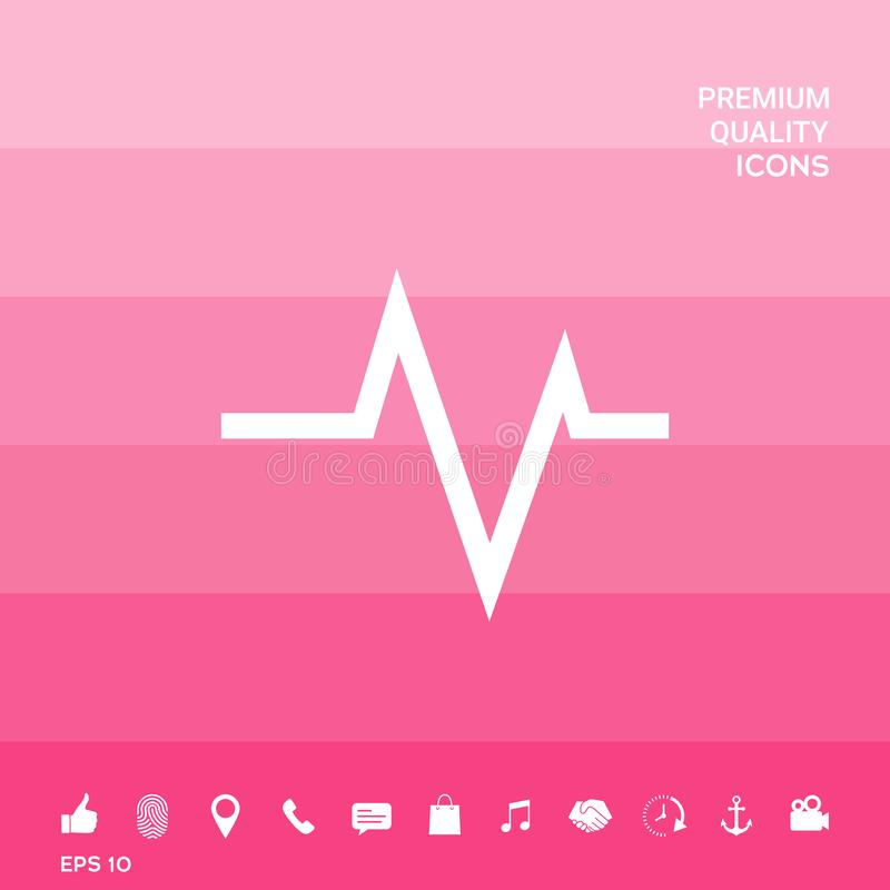 ECG wave - cardiogram symbol. Medical icon. Element for your design . Signs and symbols - graphic elements for your design stock illustration