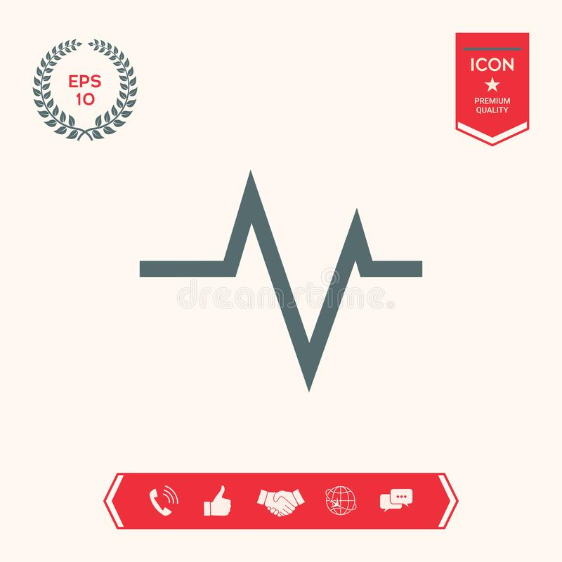 ECG wave - cardiogram symbol. Medical icon. Element for your design . Signs and symbols - graphic elements for your design vector illustration