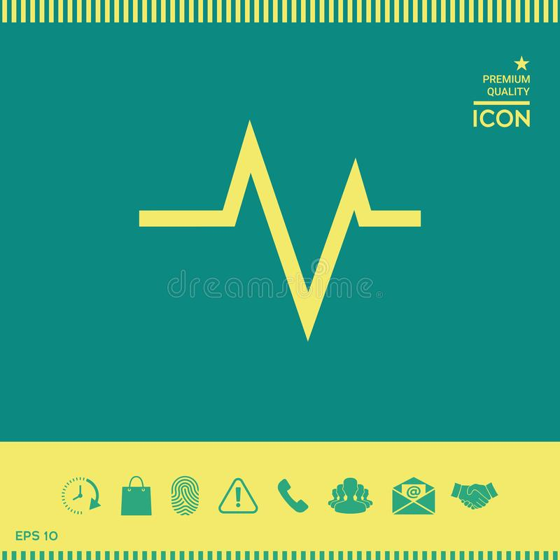 ECG wave - cardiogram symbol. Medical icon. Element for your design . Signs and symbols - graphic elements for your design royalty free illustration