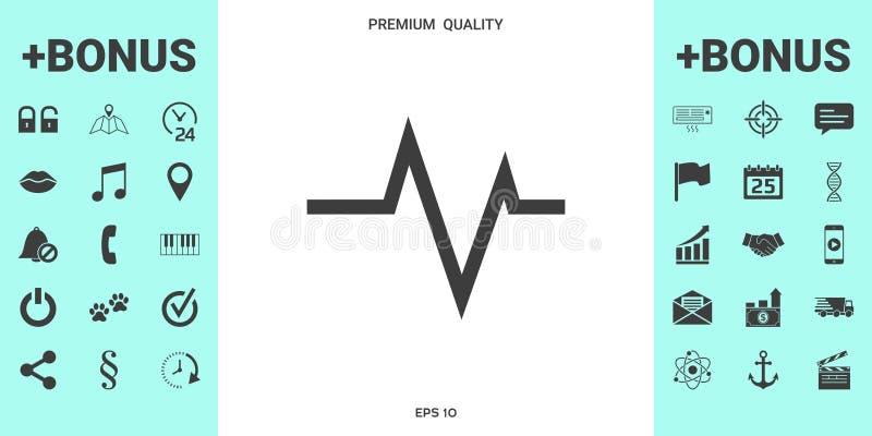 ECG wave - cardiogram symbol. Medical icon stock illustration