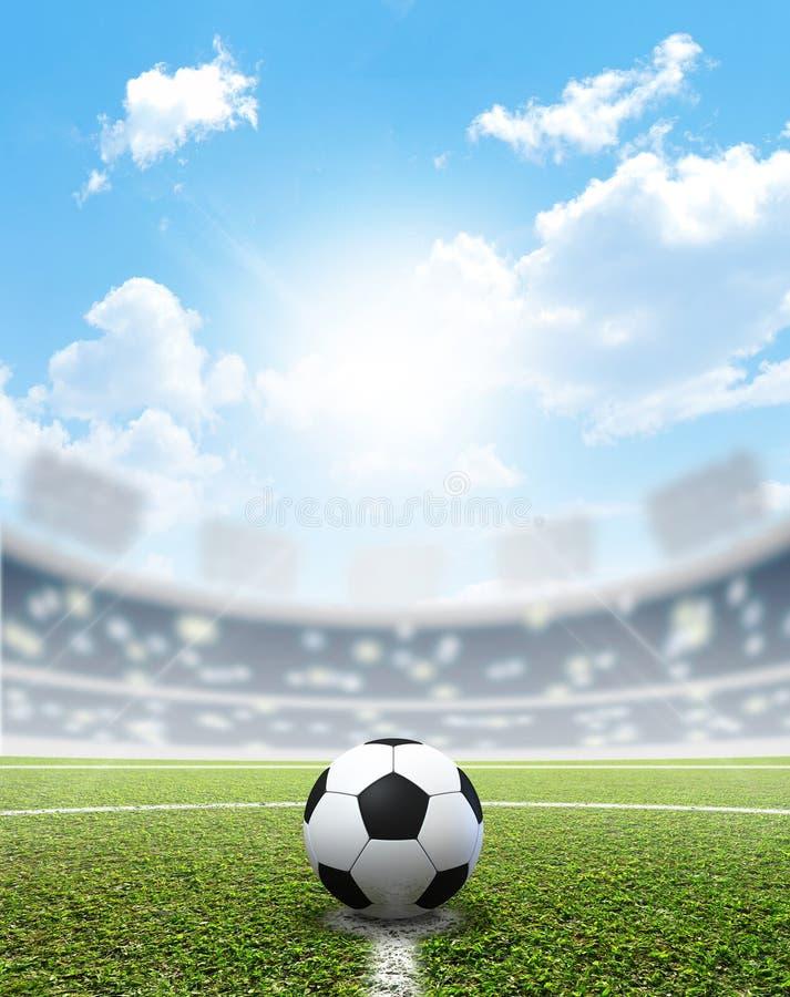 Echada y balón de fútbol del estadio fotos de archivo