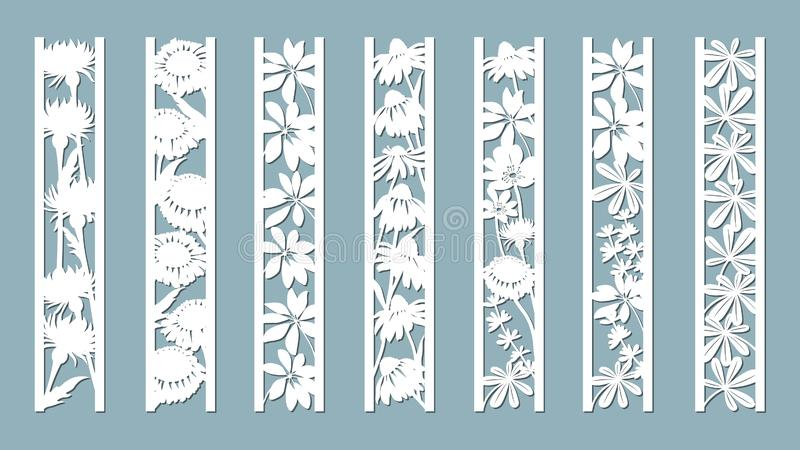 Echinacea, chamomile, schefler, noble hepatica, zephyrantes, stokesia. Panels with floral pattern. Flowers and leaves. Laser cut. Set of bookmarks templates royalty free illustration