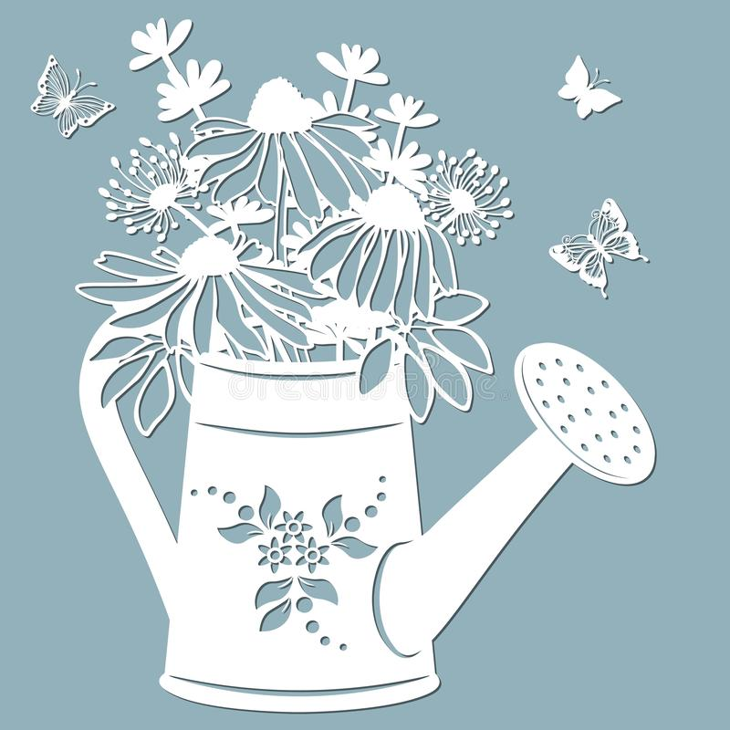 Echinacea, dandelions with Scheffler in a jar of water. watering can. Vector illustration. Paper flower, stickers. Laser cut. Template for Plotter. Pattern for vector illustration