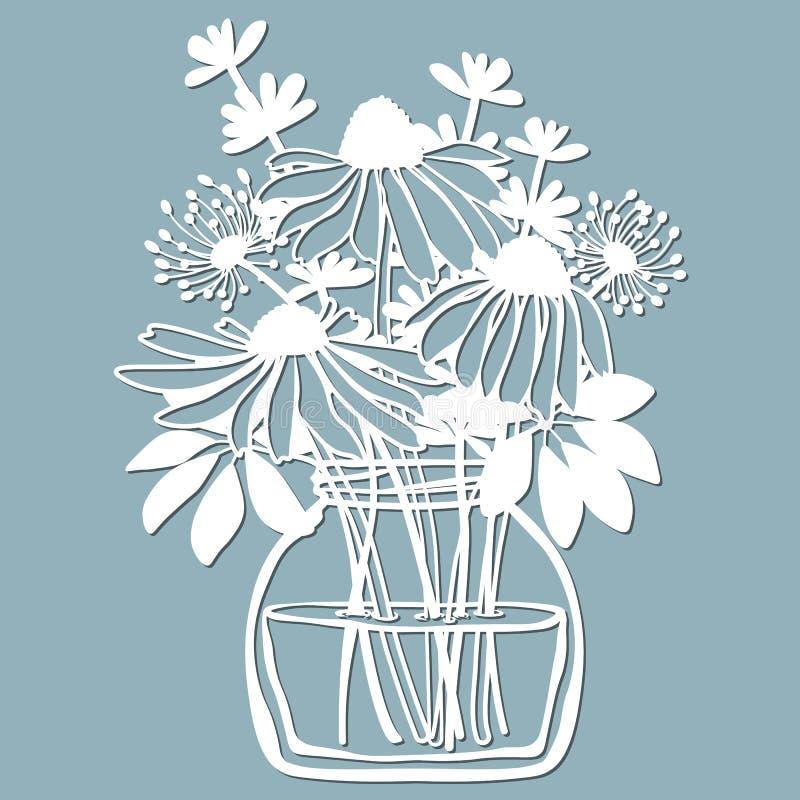 Echinacea, dentes-de-leão com Scheffler em um frasco da água Ilustração do vetor Flor de papel, etiquetas Corte do laser Molde pa ilustração royalty free