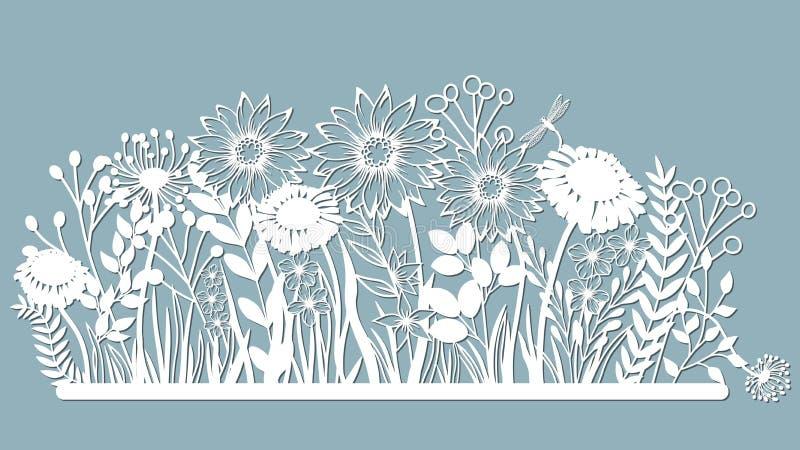 Echinacea, kamille, schefler, edele hepatica, zephyrantes, stokesia Vector illustratie Reeks van document bloem, stickers laser stock illustratie